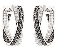 Black & White Diamond Hoop Earrings, Sterling 1ct by Affinity - J310172