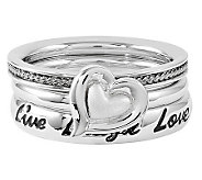 Simply Stacks Sterling Live Laugh Love Ring Set - J314572