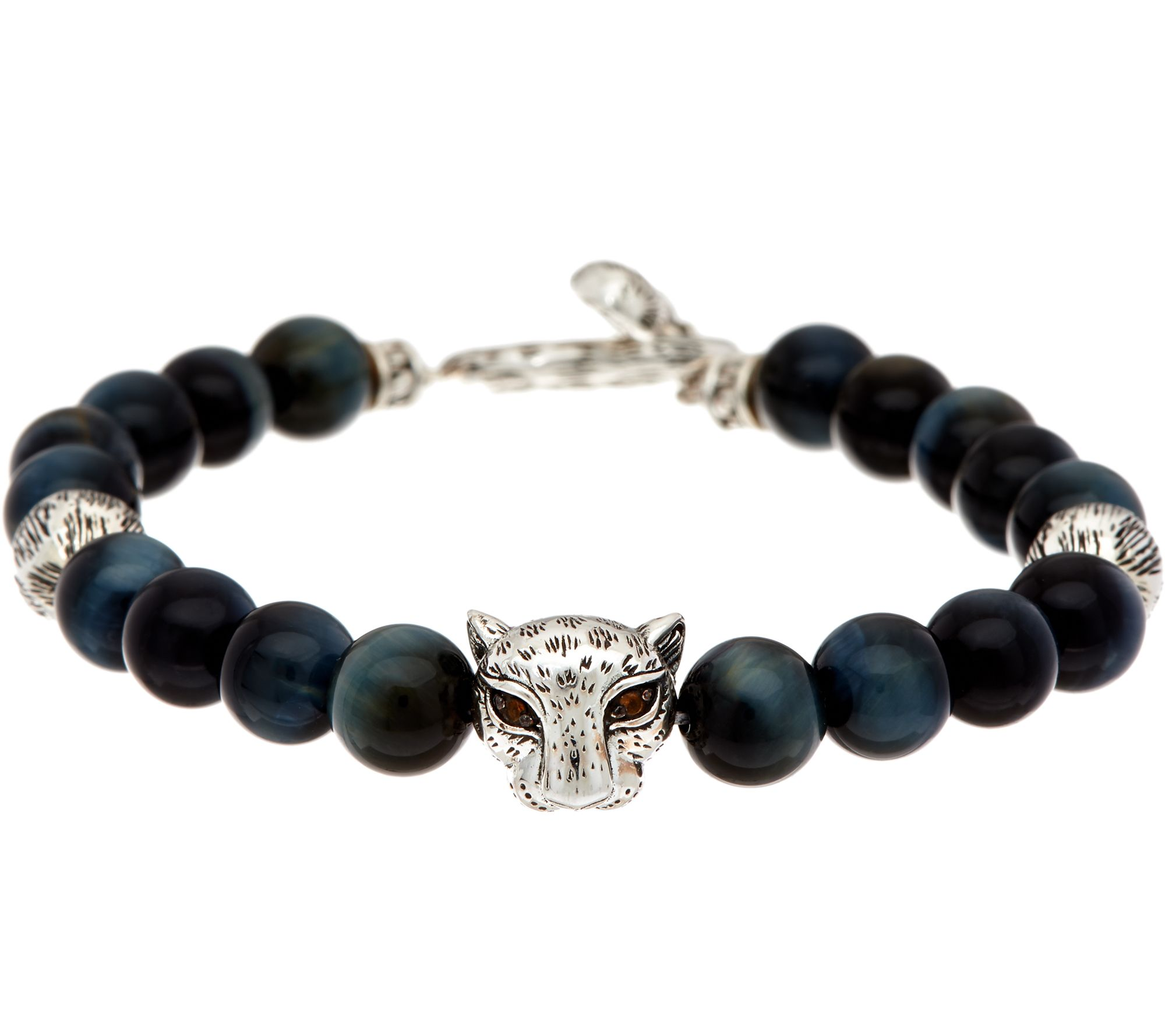 Jai Sterling Silver Leopard Head Bead Gemstone Bracelet J347672