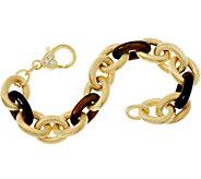 Judith Ripka 7-1/4 Verona Gemstone Link 14K Clad Bracelet 35.8g - J347872