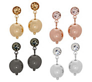 Joan Rivers Set of 4 Metallic Drop Earrings with Crystal - J353772