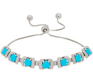 Gemstone Diamond Cut Adjustable Bracelet, Sterling Silver - J354972