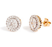 As Is Round Cluster Diamond Stud Earrings, 14K, 1.00 cttw, by Affinity - J357072