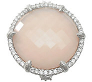 Judith Ripka Sterling Pink Opal/Rose Quartz & Diamonique Ring - J377172