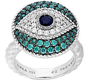Judith Ripka Sterling Silver Evil Eye Diamonique Ring - J379972