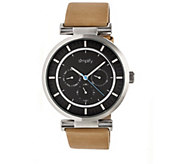 Simplify Tan Leather Strap Watch with Black Dial - J380372