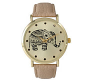 Olivia Pratt Womens Tribal Elephant Leather Watch - J380472