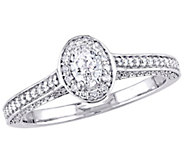 Affinity 14K Gold 7/10 cttw Oval-Cut Diamond Halo Ring - J381372