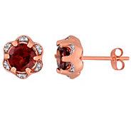 14K Gold 2 cttw Garnet & Diamond Accent Stud Earrings - J392272