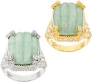Judith Ripka Sterling or Clad Carved Jade Monaco Ring - J60472