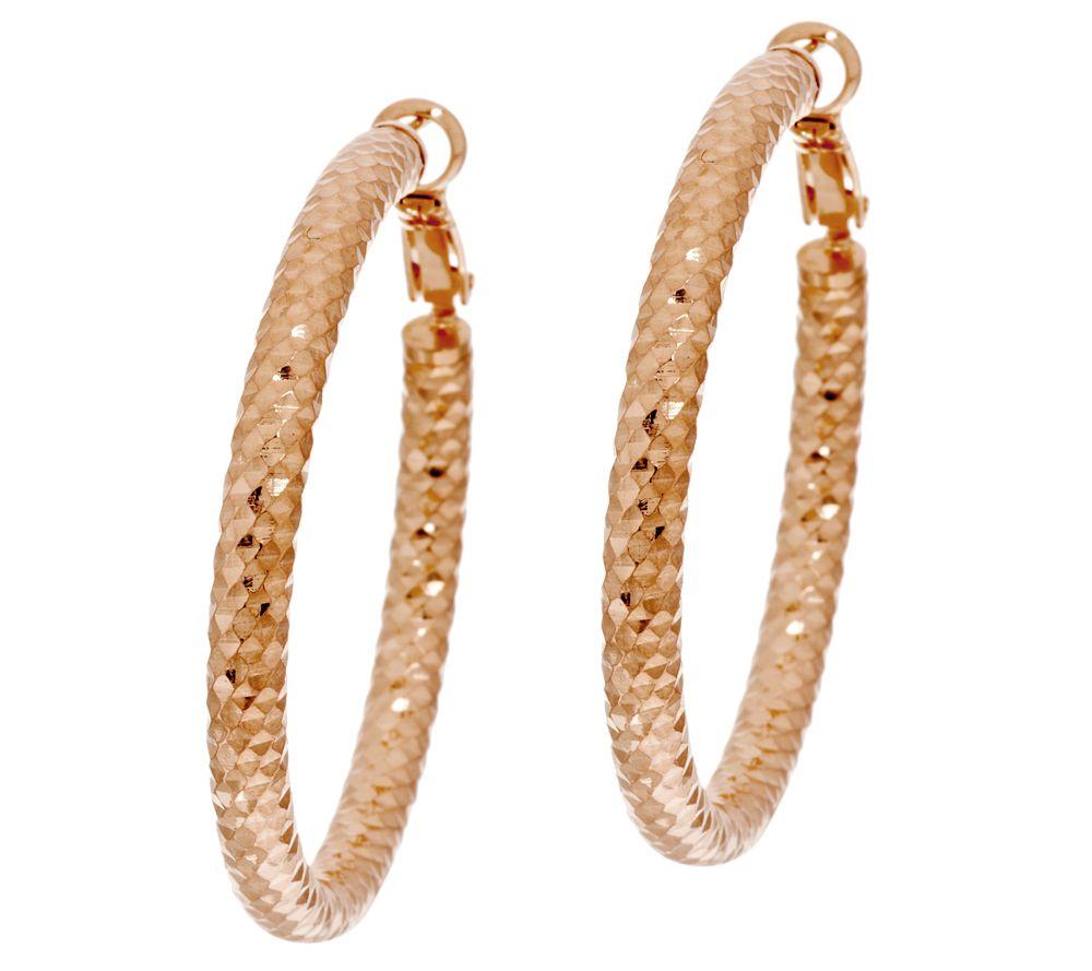 Bronze 1 3 4 Diamond Cut Omega Back Hoop Earrings By Bronzo Italia Page Qvc