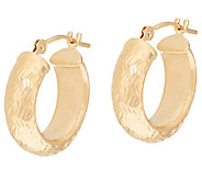 EternaGold Domed Chevron Pattern Hoop Earrings 14K Gold - J323573