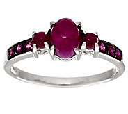 As Is 1.35 ct tw Thai Ruby 3-Stone Sterling Ring - J324173