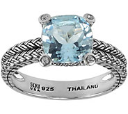 Sterling 2.40 ct Blue Topaz and White Topaz A ccent Ring - J344973