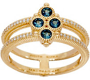 Judith Ripka 14k Gold London Blue Topaz & Diamond Ring - J349973