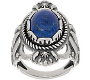 American West Oval Gemstone Sterling Silver Bold Ring - J352073