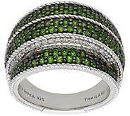 Judith Ripka Sterling Chrome Diopside & Diamonique Pave Ring - J384073
