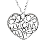 Or Paz Sterling Silver Mom Heart Pendant w/ Chain - J384173