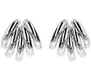 Italian Gold Polished Fan Design Earrings, 14K - J384273