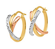 Italian Gold Tri-Color Crossover Earrings, 14K - J385673