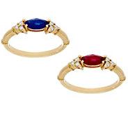 Judith Ripka 14K Gold Ruby, Emerald or Sapphire & Diamond Ring - J57573