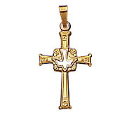 14K Cross Pendant With Holy Spirit Dove - J108174