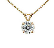 Diamonique 100 Facet 1 ct tw Pendant w/Chain, 14K Gold - J111274