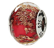 Prerogatives Sterling Red/Gold Italian Murano Glass Bead - J111774