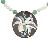 Lee Sands Floral Inlay Pendant with 18 Bead Necklace - J313874
