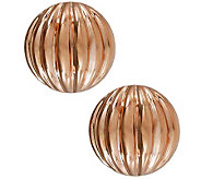 Bronzo Italia Ribbed Round Button Omega Back Earrings - J315174