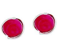 Kalos by Hagit Sterling Silver Pink Glass Stud Earrings - J329774