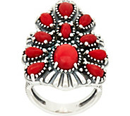American West Sterling Silver Red Coral Tapered Cluster Ring - J347774