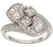 Judith Ripka Sterling Silver 3.60 cttw Diamonique Heart Ring - J348074