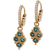 Judith Ripka 14K Gold London Blue Topaz & Diamond Earrings - J349974
