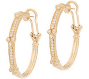 Judith Ripka 14K Gold 3/8 cttw Diamond Cluster Hoop Earrings - J352574