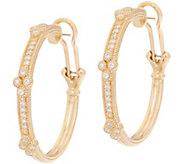 Judith Ripka 14K Gold 3/8 cttw Diamond Cluster Hoop Earrings - J352574