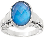 JAI Sterling Silver & Mother of Pearl Doublet Box Chain Ring - J356774