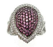 Judith Ripka Sterling & Rhodolite Pave Ring - J376874