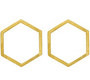 Italian Silver & 14K Gold-Plated Hexagon Earrings, Sterling - J379674