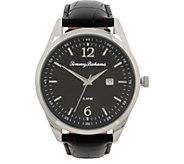 Tommy Bahama Siesta Key Leather Strap Watch, Black - J379774