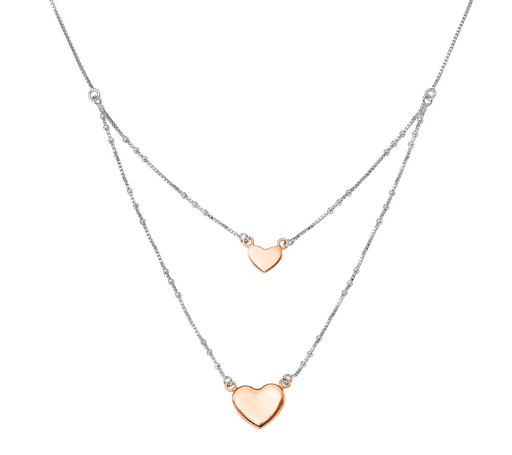 Sterling Double Heart Dangle Layered Necklace By Silver Style