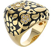 Lauren G Adams Goldtone Colored Enamel Floral Cocktail Ring - J380874