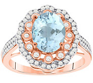 Sterling 2.00 cttw Aquamarine & White Zircon Ring - J392174