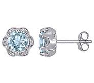 14K Gold 1.50 cttw Aquamarine & Diamond AccentStud Earrings - J392274