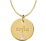 Posh Mommy 18KGold-Pltd Med Disc SimBirthstonePendant w/Chain - J300075