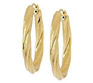 Veronese 18K Clad 1-1/2 Oval Satin & PolishedHoop Earrings - J304675