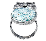 Or Paz Sterling Roman Glass Owl Ring - J306775