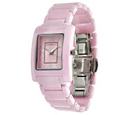 As Is Isaac Mizrahi Live! Ceramic Rectangular Dial Watch - J330775
