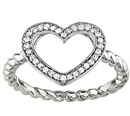 Diamond Open Heart Ring, 1/8cttw, Sterling, b yAffinity - J338075