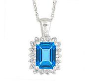 Premier Emerald Cut 1.60cttw Blue Topaz & Diamond Pendant, 14 - J338275